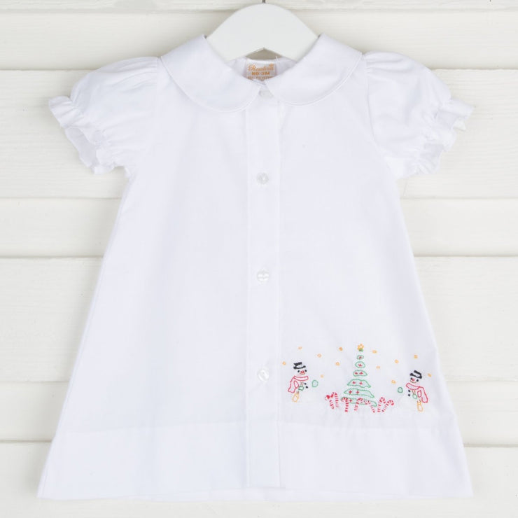 Girl Snowmen Embroidered White Day Gown