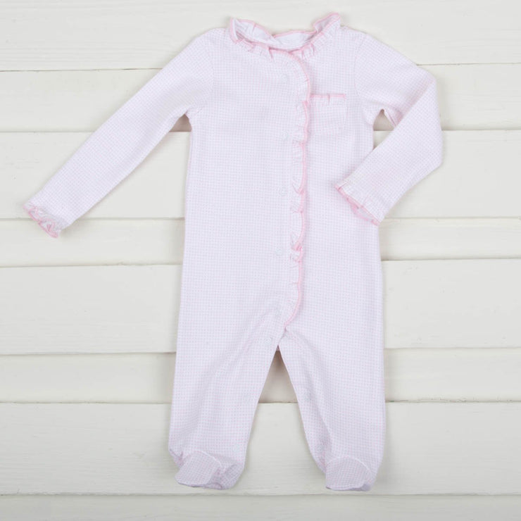 Light Pink Gingham Footed Onesie