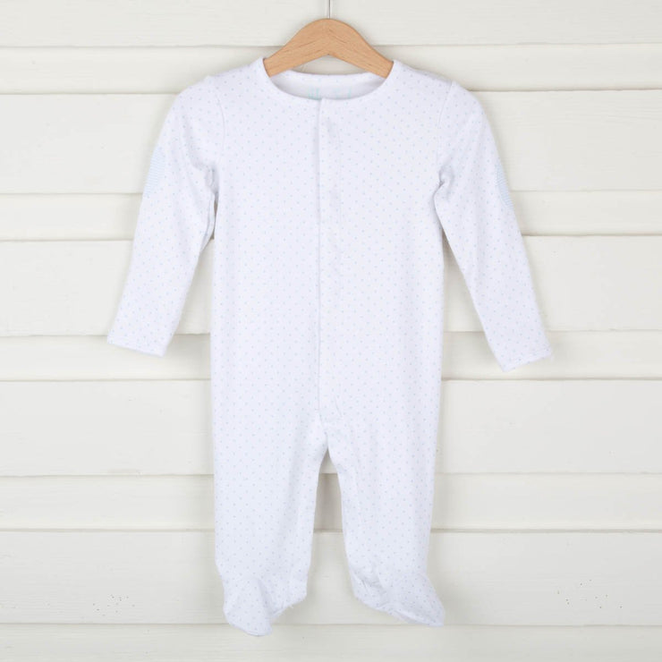 Star Footed Onesie White and Light Blue