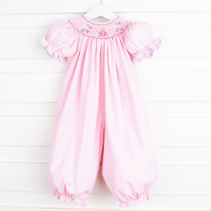 Birthday Smocked Long Bubble Light Pink Gingham
