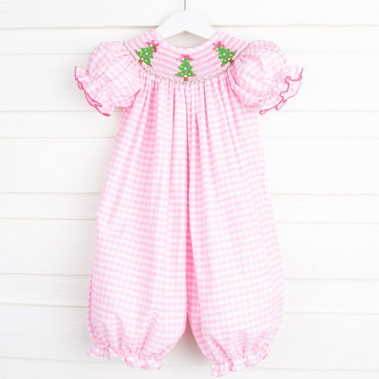 Christmas Tree Smocked Long Bubble Pink Check