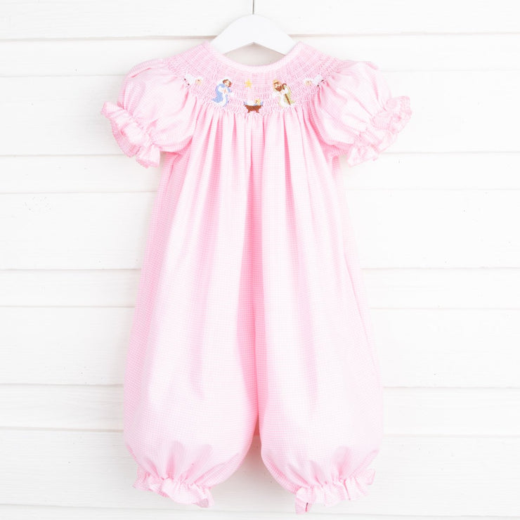 Nativity Scene Smocked Long Bubble Light Pink Gingham