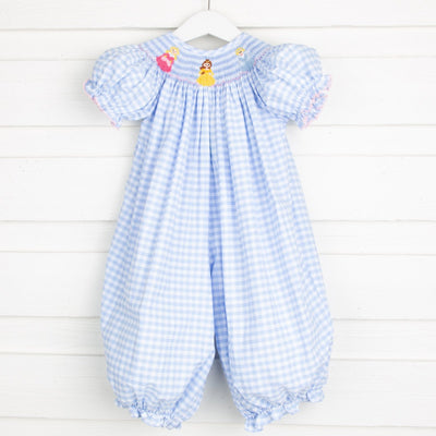 Princess Smocked Long Bubble Light Blue Check