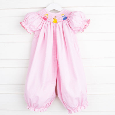 Princess Smocked Long Bubble Pink Gingham