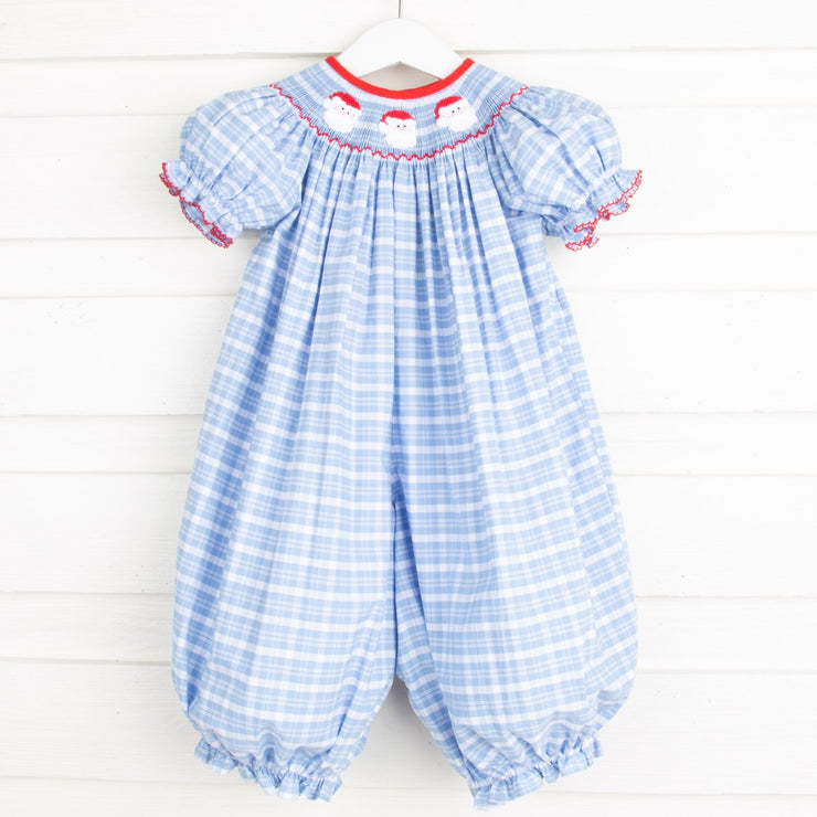 Santa Face Smocked Long Bubble Light Blue Plaid
