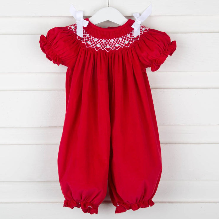 Smocked Geometric Long Bubble w Bow Red Corduroy