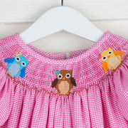Smocked Owl Hot Pink Gingham Long Bubble
