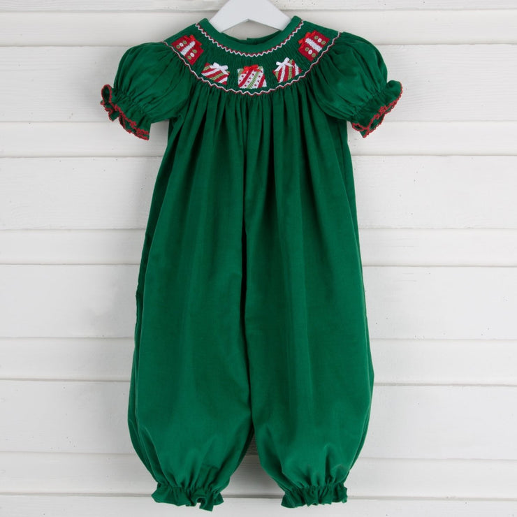 Smocked Presents Long Bubble Green Corduroy