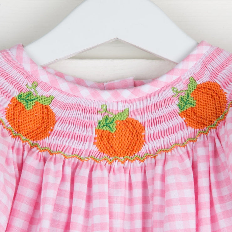 Smocked Pumpkin Light Pink Gingham Long Bubble