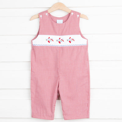 Airplane Smocked Longall Red Gingham