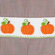 Brown Gingham Smocked Pumpkin Longall