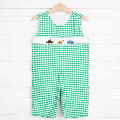 Dinosaur Smocked Longall Green Check