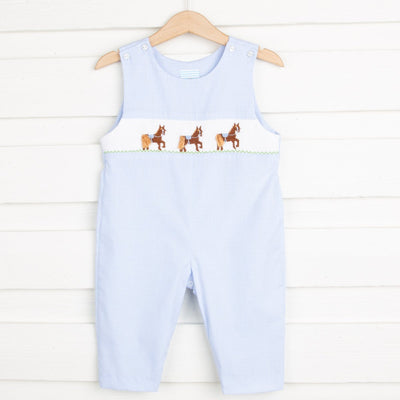 Horse Smocked Longall Light Blue Gingham