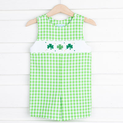 Shamrock Smocked Jon Jon Green Gingham