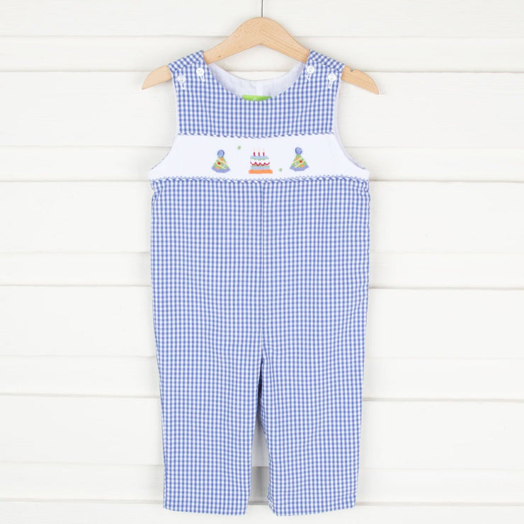 Smocked Birthday Longall Blue Gingham