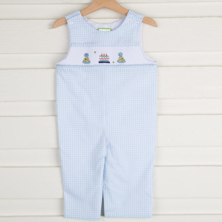 Smocked Birthday Longall Light Blue Check