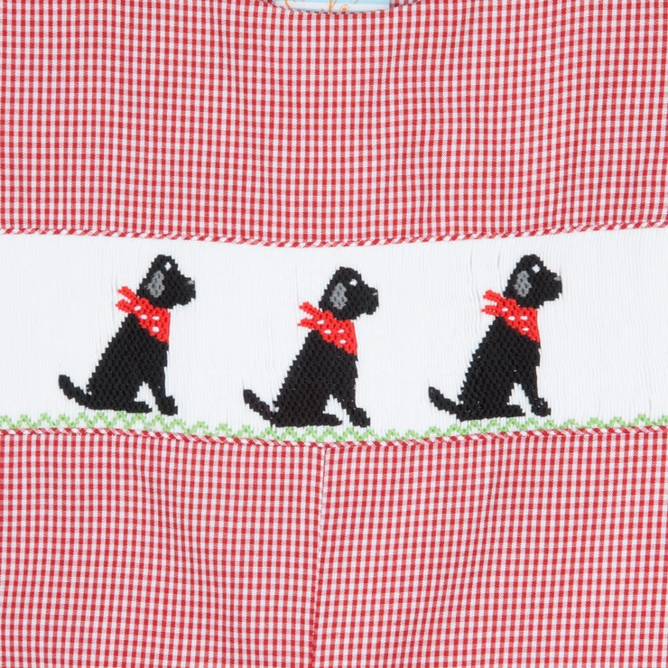 Smocked Black Lab Longall Red Gingham