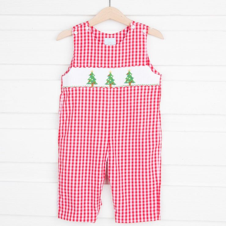 Smocked Christmas Tree Longall Red Check