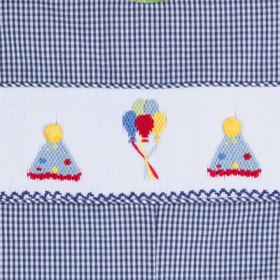 Smocked Party Hat Longall Navy Gingham