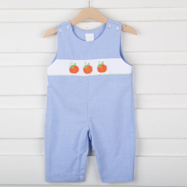Smocked Pumpkin Chambray Longall
