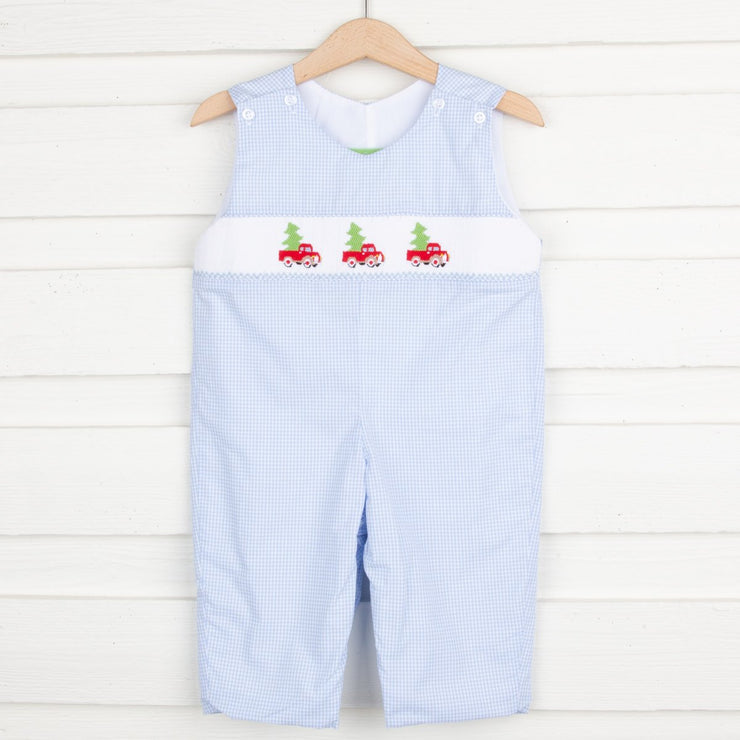 Tree Truck Smocked Longall Blue Gingham