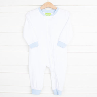 1-Piece Knit Loungewear White w Light Blue