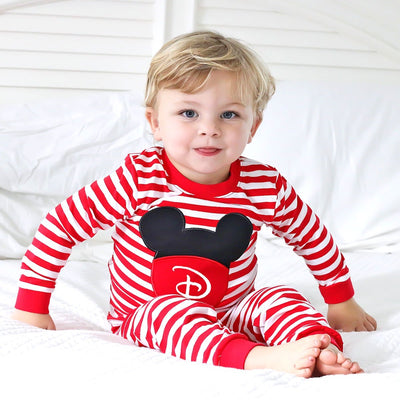 Applique Mouse Ears Loungewear Red Stripe
