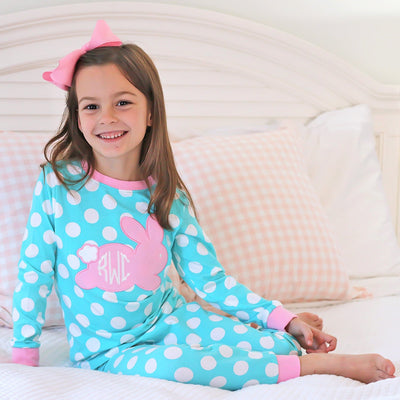 Applique Rabbit Loungewear Aqua Knit Polka Dot