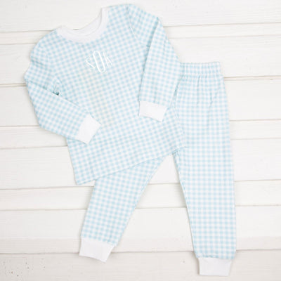 Blue Gingham Tight Fitting Loungewear