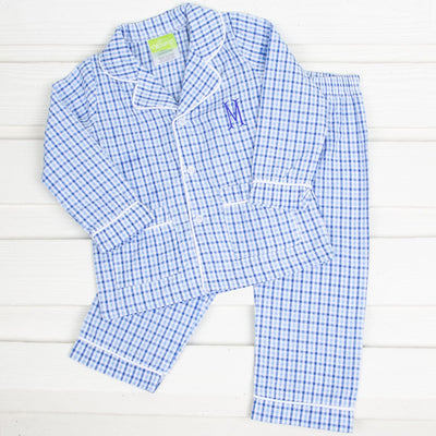 Blue Plaid Seersucker Menswear Loungewear