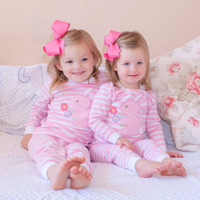 Bunny & Flower Knit Loungewear Pink and White Stripe