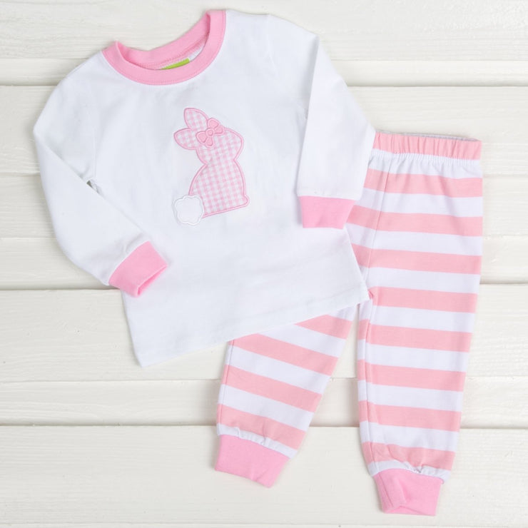 Check Bunny Applique Loungewear Pink Knit Stripe