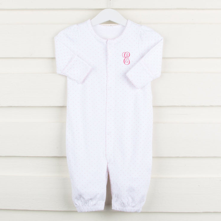 Convertible Onesie Tiny Light Pink Hearts White