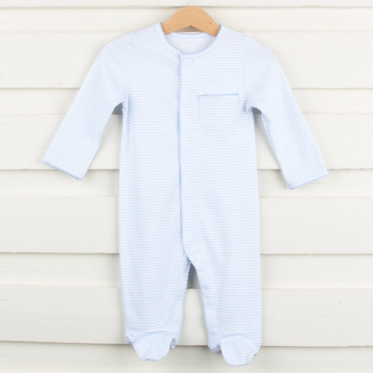 Footed Light Blue Striped Onesie