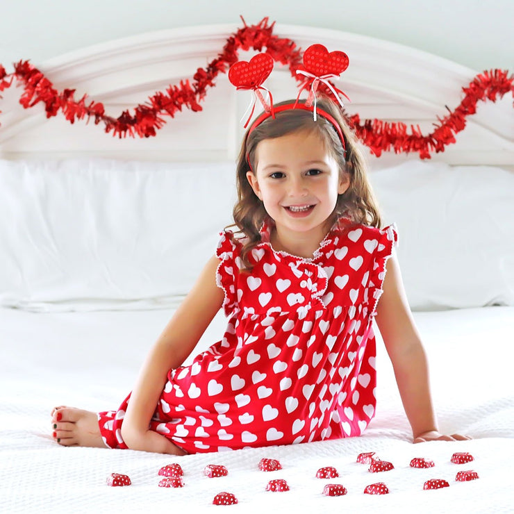 Heart Print Gown Red Knit