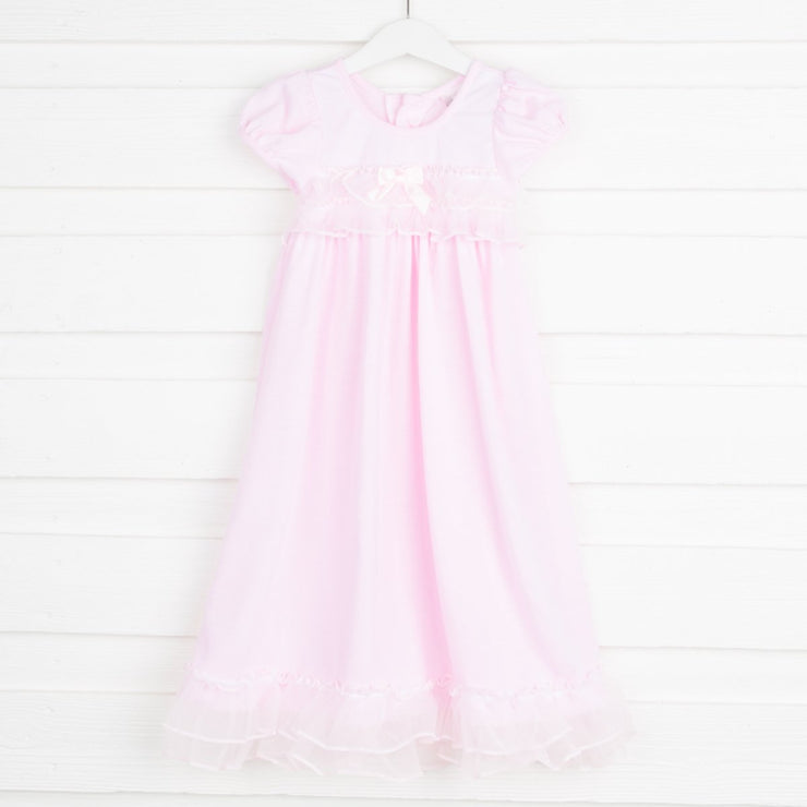 Jersey Short Sleeve Ruffle Nightgown Light Pink