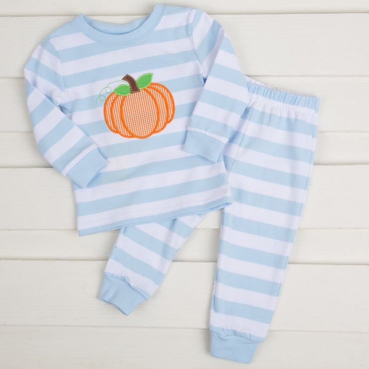 Knit Applique Pumpkin Stripe Loungewear Light Blue