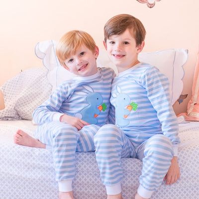Knit Bunny Garden Loungewear Blue and White Stripe
