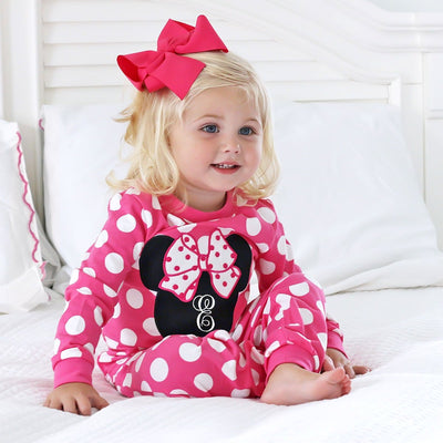 Knit Mouse Ears Loungewear Hot Pink Polka Dot