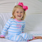 Light Blue and Pink Stripe Knit Loungewear