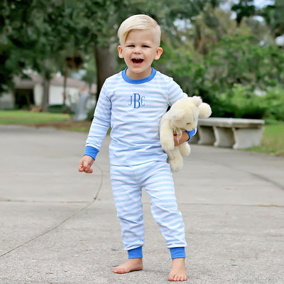 Light Blue and Royal Stripe Loungewear