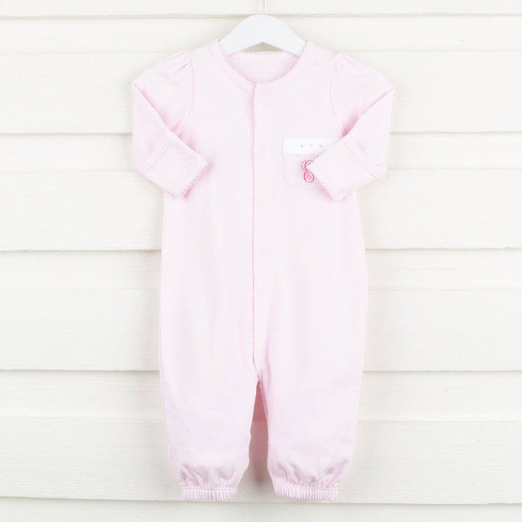 Light Pink Solid Knit Convertible Onesie