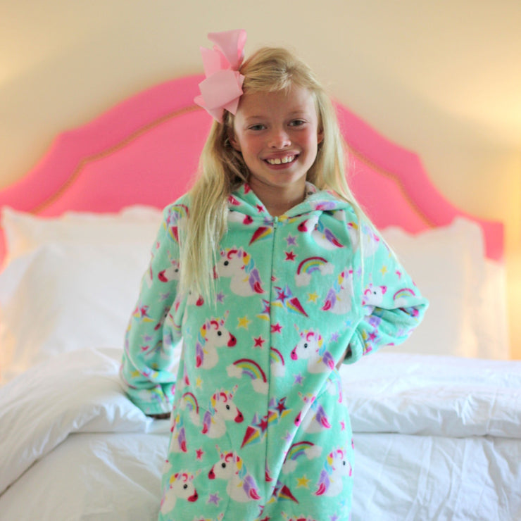 Mint Unicorn Fleece Onesie