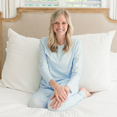 Mom Blue Gingham Knit Loungewear