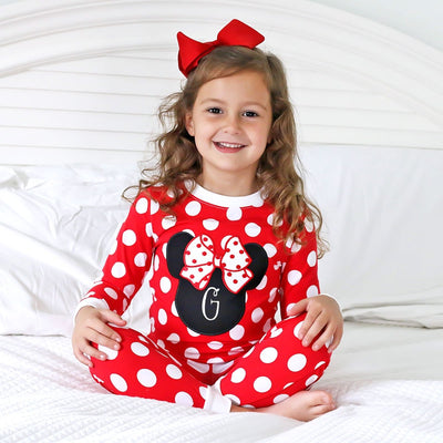 Mouse Ears Knit Loungewear Red Polka Dot