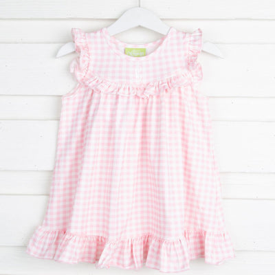 Pink Gingham Knit Gown
