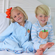 Pumpkin Applique Gown Light Blue Knit