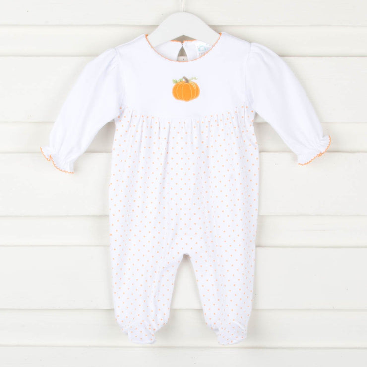 Pumpkin Applique Onesie Orange Polka Dot Knit