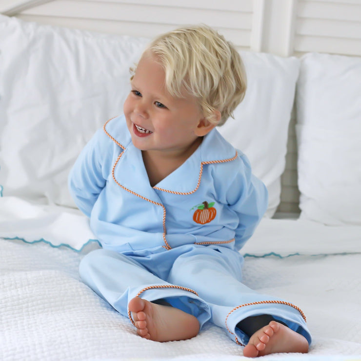 Pumpkin Menswear Applique Loungewear Light Blue Knit