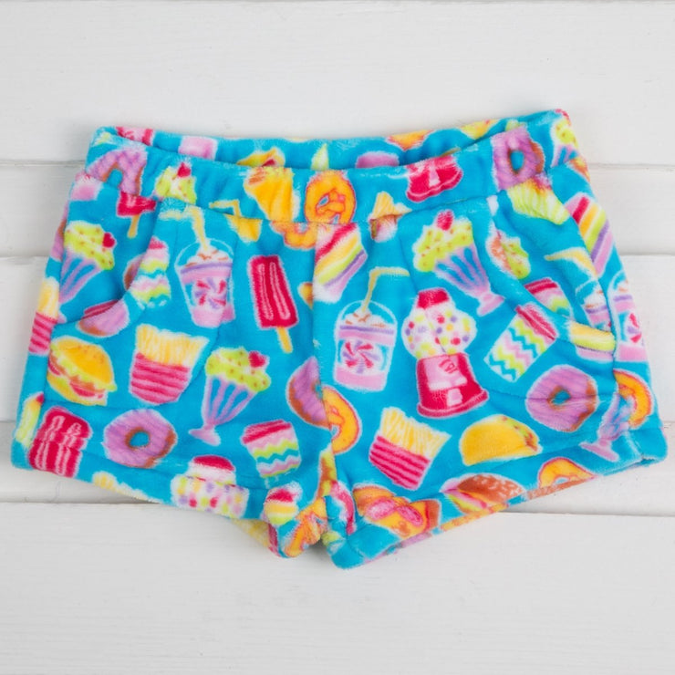 Turquoise Junk Food Fleece Shorts
